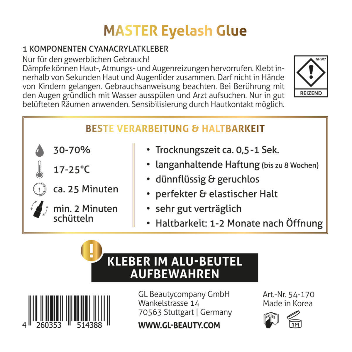 Master Eyelash Glue GL Beauty Lashes